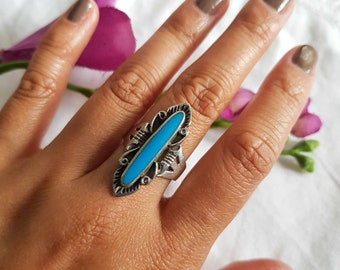 Vintage 90s 925 sterling silver statement turquoise ring SIZE P / 8
