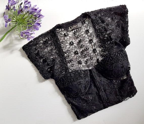 VINTAGE 90s black embellished lace corset with co… - image 1