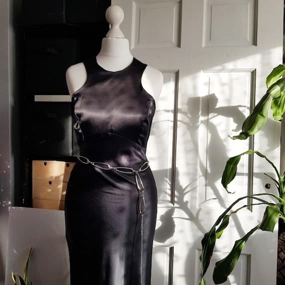 VINTAGE 80s bias cut black satin evening dress