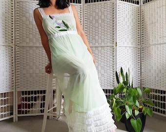 Upcycled Vintage. 70s pastel green mesh night dress.  Sequin applique floral detail. SIZE UK 10-12