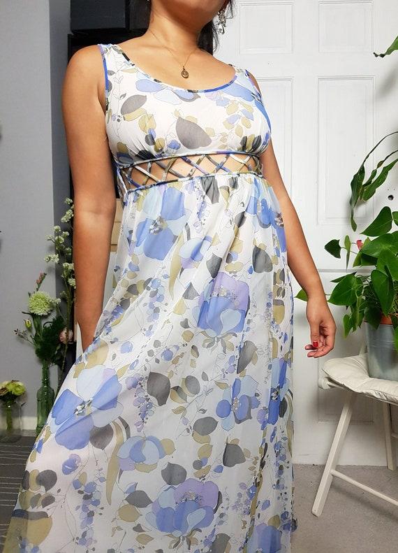 VINTAGE 80s graphic floral printed mesh slip dress