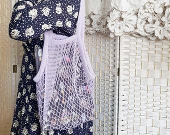 Thistle purple cotton string shoulder tote bag