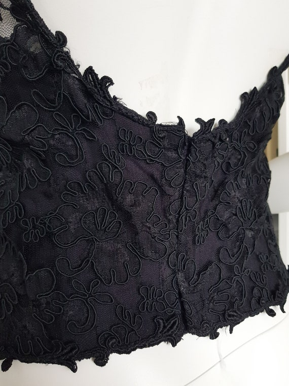 Vintage 80s black corded lace top with built-in c… - image 4