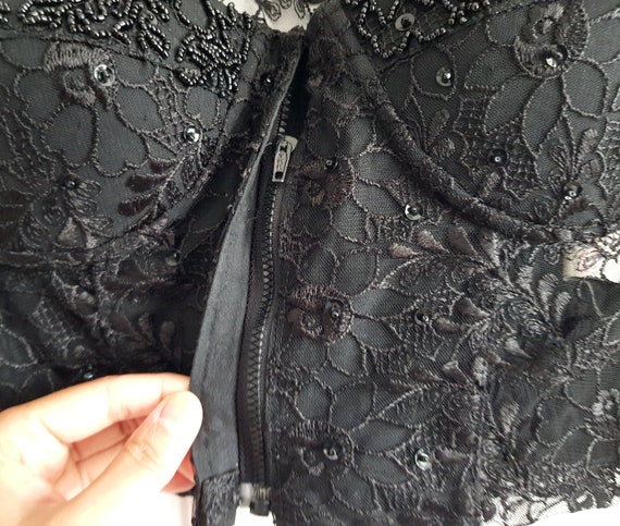 VINTAGE 90s black embellished lace corset with co… - image 5