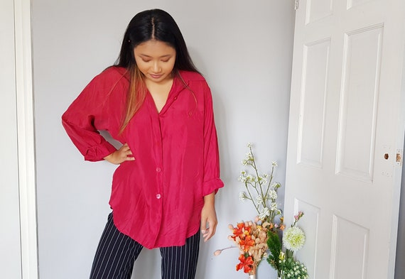 VINTAGE 1990s silk ruby red oversized shirt blouse