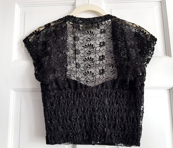 VINTAGE 90s black embellished lace corset with co… - image 6