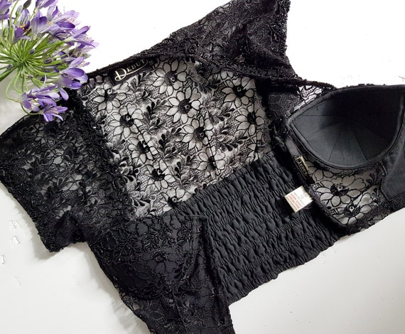 VINTAGE 90s black embellished lace corset with co… - image 9