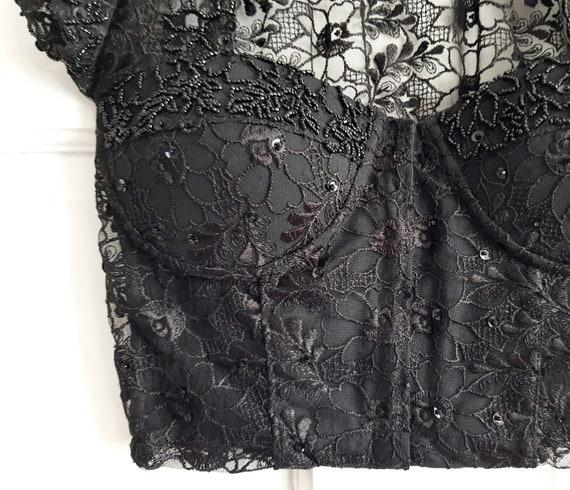 VINTAGE 90s black embellished lace corset with co… - image 3