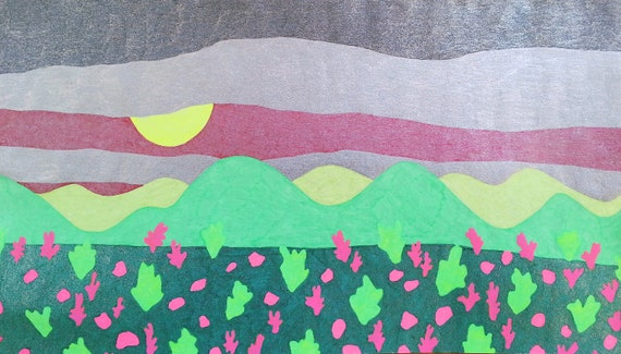 Imaginary Landscape Drawing Pink And Green Etsy