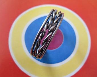 Vintage Sterling Silver Rope Twist Heavy Cuff Bracelet