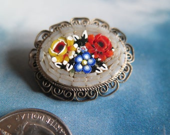 Vintage Italian Floral Glass Micromosaic Millefiore Brooch Pin