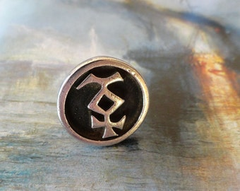 Vintage 60s Heavy Sterling Silver Symbol Ring size 6.5