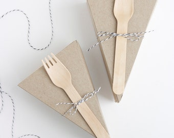 DELUXE KIT - Two-Piece LIDDED Kraft Wedge-Shaped Pie Box Kits with Forks + Black Twine
