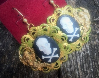 Steampunk Gothic Fantasy Baroque Pirate Skull and Crossbones Cameo Angels Drop Earrings