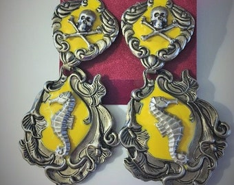Steampunk Fantasy Victorian Pirate Skull Seahorse Silver Yellow Stud Earrings with Drop