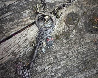 Fantasy Gothic Medieval Viking Steampunk skeleton key vintage Pendant Necklace