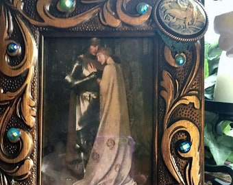 Fantasy Renaissance Medieval Repurposed Mermaid Cameo Picture Frame