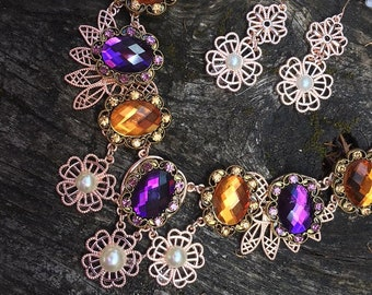 Fantasy Medieval Renaissance Fairy Victorian Purple Amber Pearl Rose Gold Bib Choker Necklace and Earrings