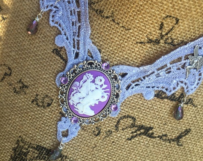 Featured listing image: Necklace Lavender Lace Choker Steampunk Fantasy Victorian Fairy Cameo