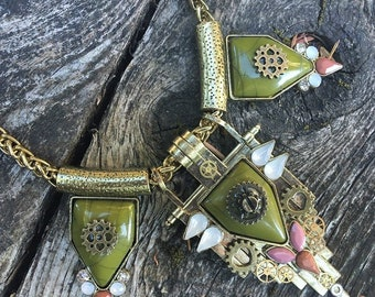 Steampunk Art Deco Olive Green and Peach in Brass with Watch Parts Choker Necklace