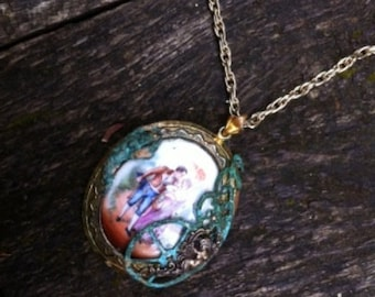 Steampunk Victorian Painted Porcelain Cameo Necklace