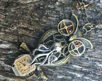 Steampunk Fantasy Pirate Octopus Cthulu Clockwork Owl Pendant Necklace