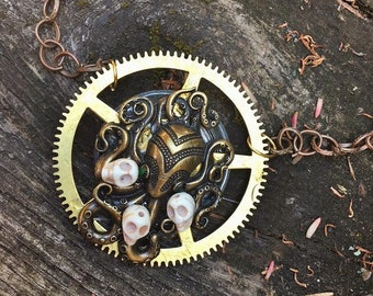 Steampunk Fantasy Octopus Cthulu Brass Gears and Skulls Pendant Necklace