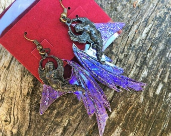 Fantasy Baroque Gothic Dark Fairy Wings Purple Blue Iridescent with Black Angels Drop Earrings