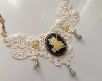 Steampunk Victorian Fantasy Fairy Cameo and Lace Bib Choker Necklace