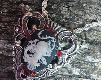 Fantasy Gothic Medieval Celtic Dragon Skull Cameo Silver Pendant Necklace