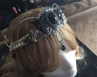 Fantasy Dark Fairy Gothic Medieval Renaissance Celtic Elven Dragon Silver Black Crown Circlet Tiara