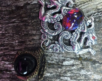 Fantasy Medieval Celtic Gothic Dragon Crystal Ball Pendant Necklace