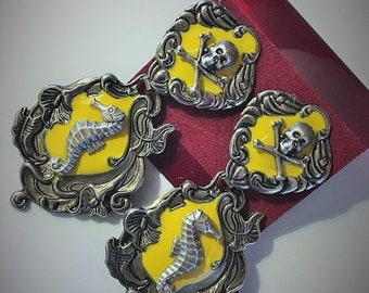 Steampunk Victorian Baroque Fantasy Pirate Goth Silver and Yellow Seahorse Skull and Crossbones Post and Drop Earrings