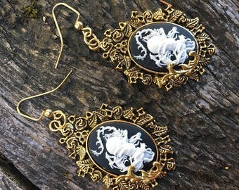 Steampunk Victorian Gothic Pirate Dragon and Skull Cameo Earrings