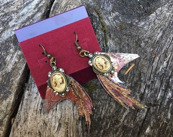 Steampunk Fantasy Victorian Rose Gold fairy wing cameo Drop Earrings