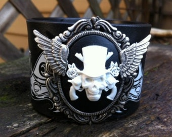 Steampunk Goth Victorian Fantasy Winged Cameo Leather Cuff