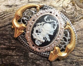 Oval Fantasy Gothic Mermaid Pirate Skull Dragon Cameo Brooch