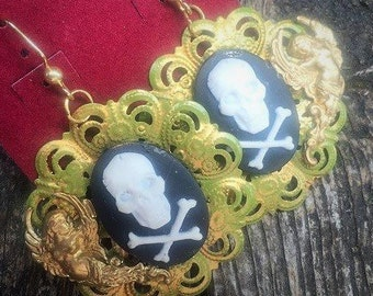 Steampunk Fantasy Pirate Goth Skull Dragon Cameo Drop Earrings