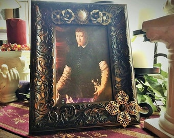 Fantasy Renaissance Medieval Steampunk Repurposed Embellished Picture Frame