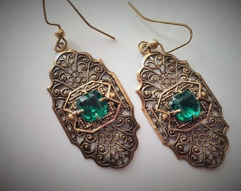 Steampunk Fantasy Renaissance Medieval Victorian Filigree Green Stone Drop Earrings