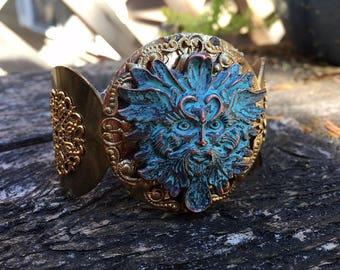 Fantasy Gypsy Celtic Medieval Brass Green Man Cuff Bracelet