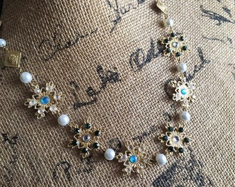 Filigree Snowflake Chain Necklace Medieval Renaissance Fantasy with Rhinestones Pearls Gold Plated Medallions