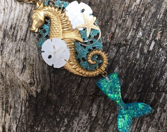 Fantasy Pirate Mermaid Tail and Seahorse Pendant Necklace