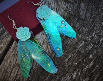 Steampunk Fantasy Victorian Fairy Wing Blue Roses Drop Earrings