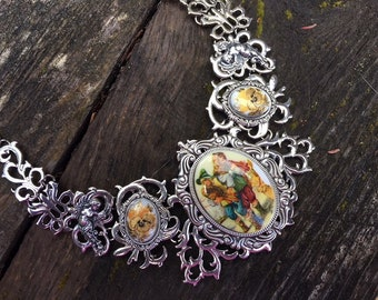 Steampunk Fantasy Victorian Renaissance with Vintage Porcelain Cabochons and Baroque Angels Choker Necklace