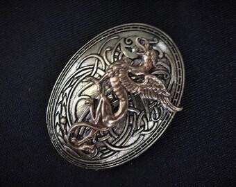 Oval Fantasy Medieval Celtic Viking Dragon Brooch