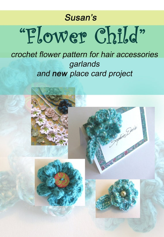 Crochet Pattern Flower Hair Clip Place Card Project And Etsy