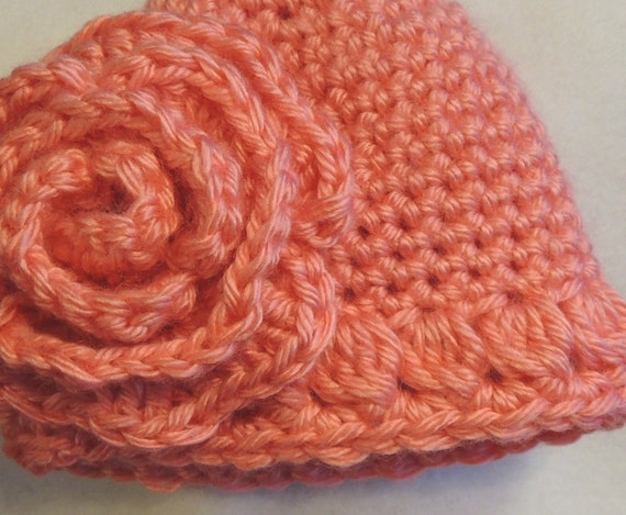 3f99b1caa17 Crochet Baby Hat and Rose PATTERN Quick and Easy Single