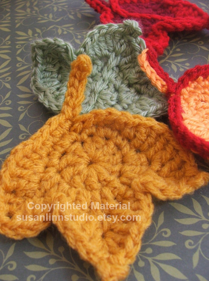 Fast and Easy Autumn Leaves Crochet PATTERN set  CROCHET 3 image 0