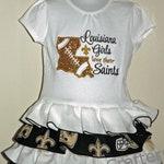 Saints Ruffle T-Shirt Dress, NFL, Louisiana, New Orleans, Spirit, Mascot, Sports, Football, Team
